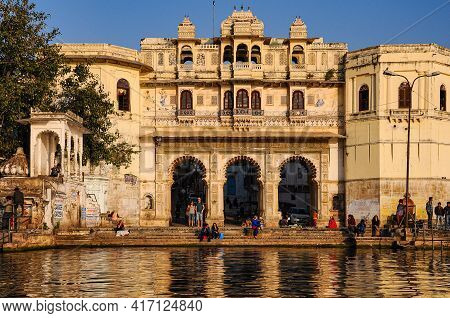 Udaipur, India - Jan 03, 2020: Udaipur City Palace In Rajasthan Is One Of The Major Tourist Attracti