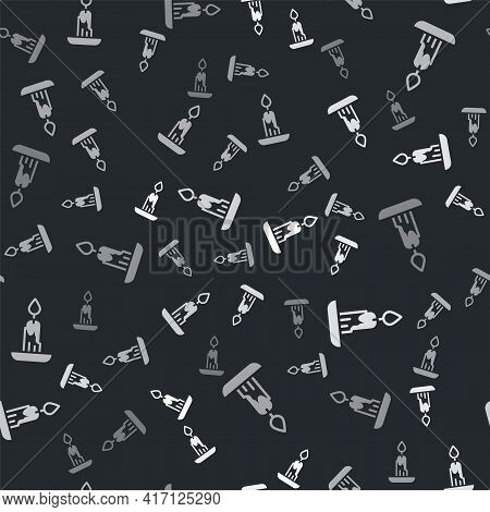 Grey Burning Candle Icon Isolated Seamless Pattern On Black Background. Cylindrical Candle Stick Wit