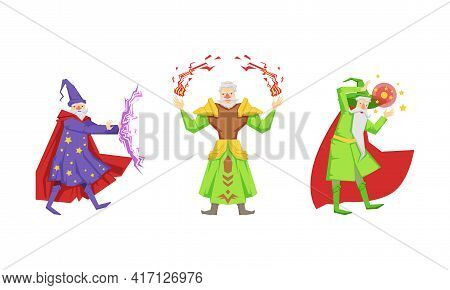 Wizard Or Sorcerer As Wise Old Man With White Beard And Pointed Hat Performing Magic Vector Set
