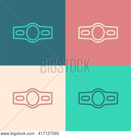 Pop Art Line Boxing Belt Icon Isolated On Color Background. Belt Boxing Sport Championship Winner Fi