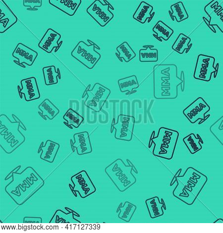 Black Line Fight Club Mma Icon Isolated Seamless Pattern On Green Background. Mixed Martial Arts. Ve