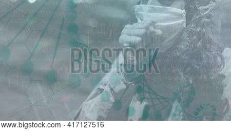 Mid section of caucasian woman coughing in her mask in the street. with a data background concept. digitally generate image