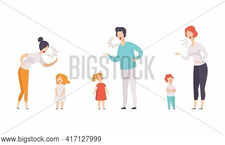 Annoyed Mom And Dad Scolding Their Kids For Disobedience Vector Illustration Set