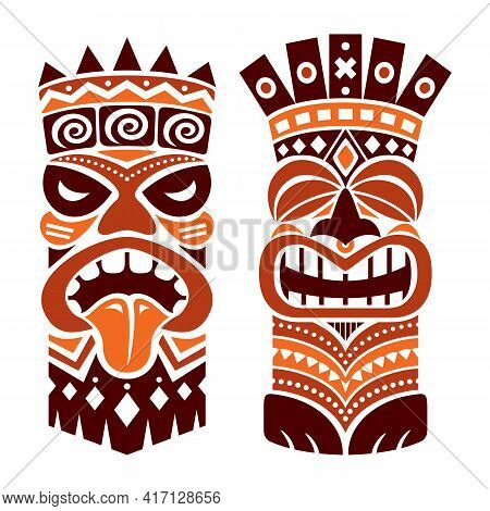 Tiki Statue Pole Totem Vector Design - Traditional Decor Set From Polynesia And Hawaii, Tribal Folk
