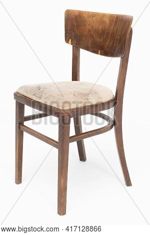 Wooden Chair From Turn Of 70s And 80s From Previous Century With Soft Seat. Polish Design And Produc