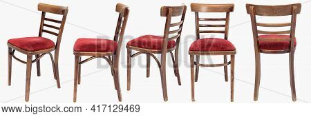 Set Of Wooden Chairs From Turn Of 70s And 80s From Previous Century With Soft Red Seat. Polish Desig