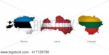 Vector Illustration Set With Isolated Silhouettes Of Baltic States Map Simplified Shapes . National