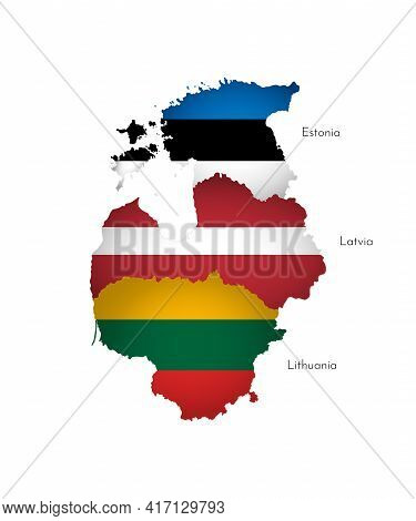 Vector Illustration With Isolated Silhouettes Of Baltic States On Map Simplified Shapes . National F