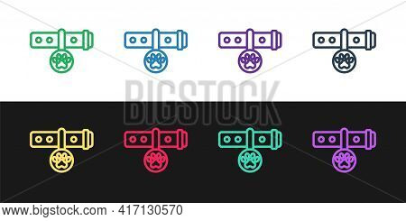 Set Line Collar With Name Tag Icon Isolated On Black And White Background. Supplies For Domestic Ani