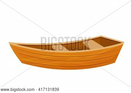 Wooden Boat, Canoe In Cartoon Flat Style Isolated On White Background. Fishing Equipment For Lake Or