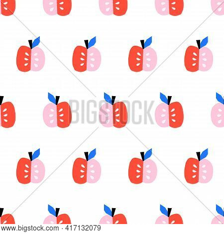 Cute Apples Seamless Vector Pattern. Repeating Background With Scandinavian Style Apples Pink Red Bl