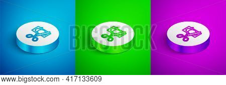Isometric Line Scissors Cutting Money Icon Isolated On Blue, Green And Purple Background. Price, Cos