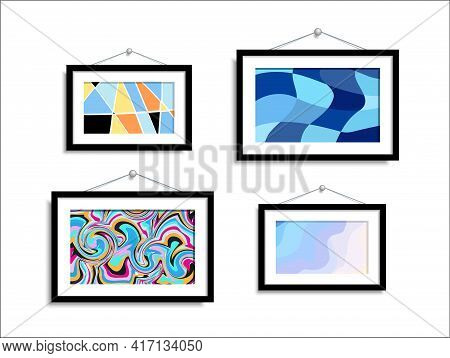 Abstract Paintings Hang On The Wall. Abstract Art In A Gallery