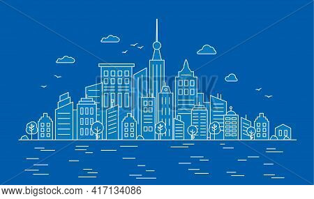City Center With Skyscrapers On The Water Background