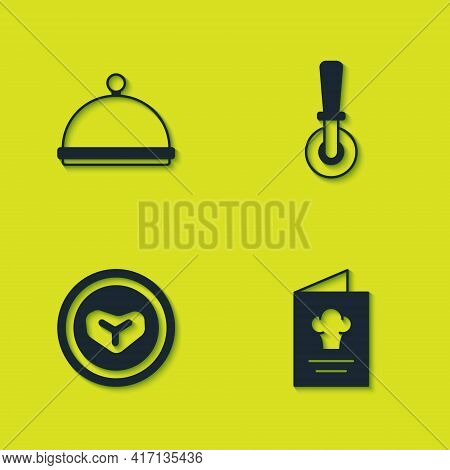 Set Covered With Tray, Cookbook, Steak Meat On Plate And Pizza Knife Icon. Vector