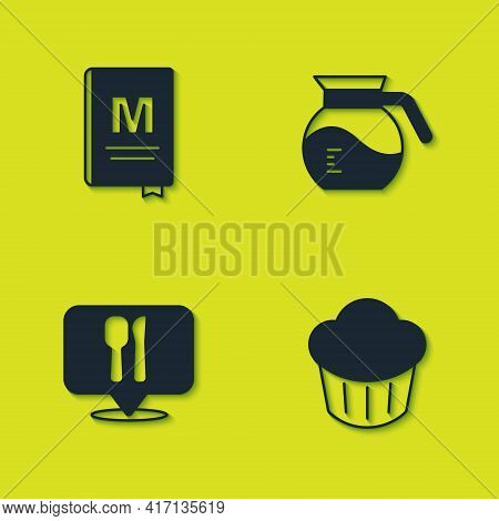 Set Restaurant Cafe Menu, Cupcake, Cafe And Restaurant Location And Coffee Pot Icon. Vector