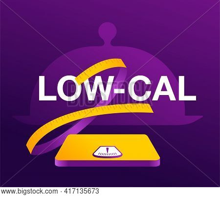 Low Cal Food, Healthy Eating Banner - Low Calories Diet Products - Weight Scales With Measuring Tape