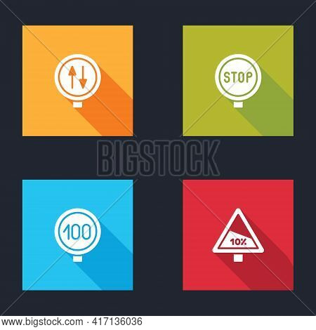 Set Road Warning Two Way Traffic, Stop Sign, Speed Limit And Steep Ascent And Descent Road Icon. Vec