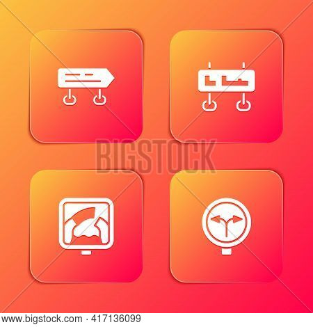 Set Road Traffic Sign, , Drawbridge Ahead And Fork In The Road Icon. Vector