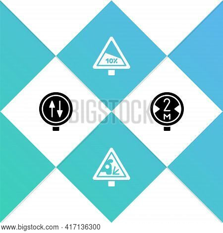 Set Road Warning Two Way Traffic, Warning Road Sign, Steep Ascent And Descent And Icon. Vector