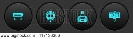 Set Road Traffic Sign, Pedestrian Crosswalk, Traffic Cone And Fire Exit Icon. Vector