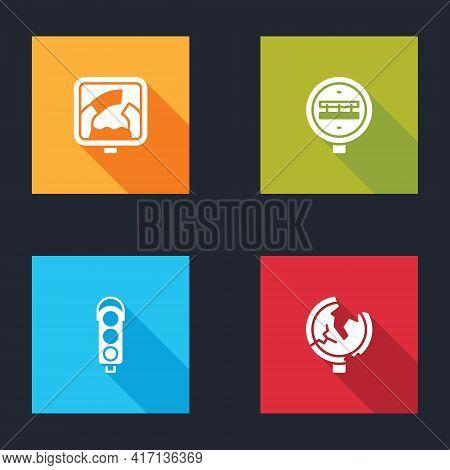 Set Drawbridge Ahead, Railroad Crossing, Traffic Light And Road Traffic Sign Icon. Vector