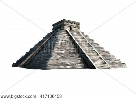 Temple Of Kukulkan, Pyramid At Chichen Itza, Yucatan, Mexico From A Splash Of Watercolor, Colored Dr