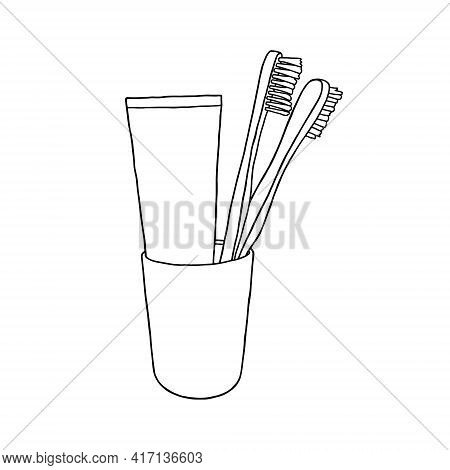 Outline Toothbrushes And Toothpaste Icon. Two Toothbrushes And Toothpaste In A Glass.