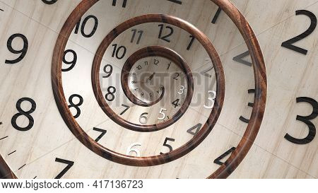 Vintage Wood Spin Round Clock Face. 3d Rendering Classic Round Clock With Infinity Time. Abstract Ti