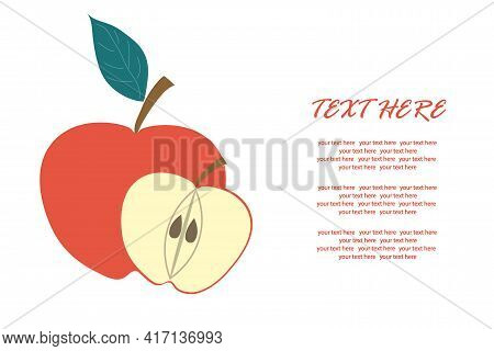 Delicious Apple With A Slice In A Cut On An Isolated Background For An Inscription. Vector Illustrat