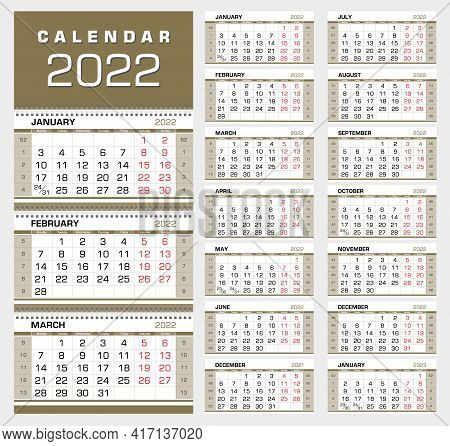 Calendar 2022. Wall Quarterly Calendar With Week Numbers. Week Start From Monday. Ready For Print, C