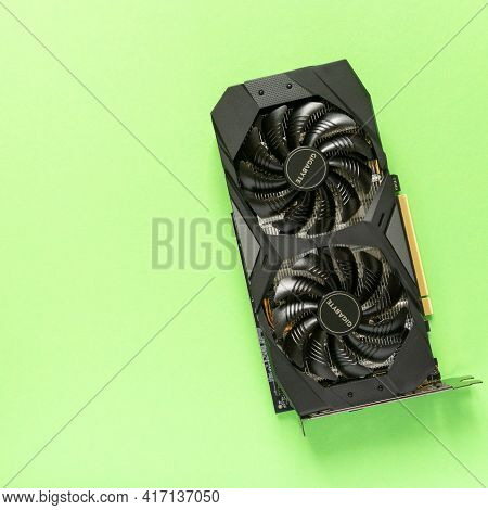 Noyabrsk, Russia, April 1, 2021 Gigabyte Geforce Rtx 2060 Oc 6g Graphics Card On Green Background, T