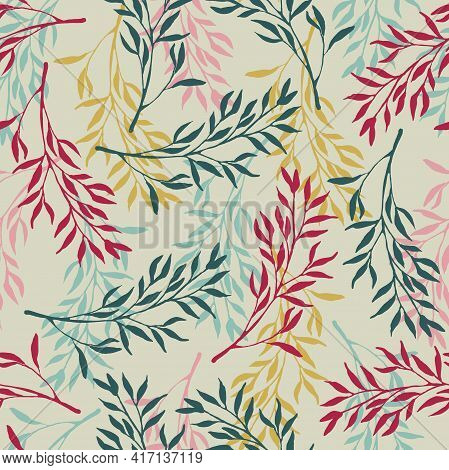 Foliage Seamless Pattern. Flat Silhouette Illustration. Floral Herb Design Elements. Botanical Fores