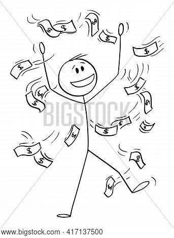 Successful Businessman Celebrating Success With Money Falling Or Raining , Vector Cartoon Stick Figu