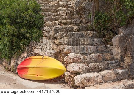 Yellow Surfboard Waiting For Summer Sports Activity Tourism Trip. Tropical Journey Scene With Antiqu