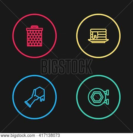 Set Line Honeycomb And Hand, Hanging Sign With Honeycomb, Stack Of Pancakes And Icon. Vector