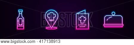 Set Line Wine Bottle, Chef Hat With Location, Cookbook And Covered Tray. Glowing Neon Icon. Vector