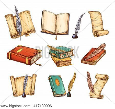 Collection Of Old Books And Antique Quills. Education And Wisdom Concept. Vector Icons For Education