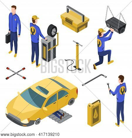 Isometric Auto Service. Car Service Top View Concept With Workers Repairing. Element To Repair Vehic
