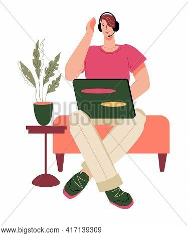 Young Man Sits In A Chair And Works Remotely From Home On A Laptop, Flat Cartoon Vector Illustration
