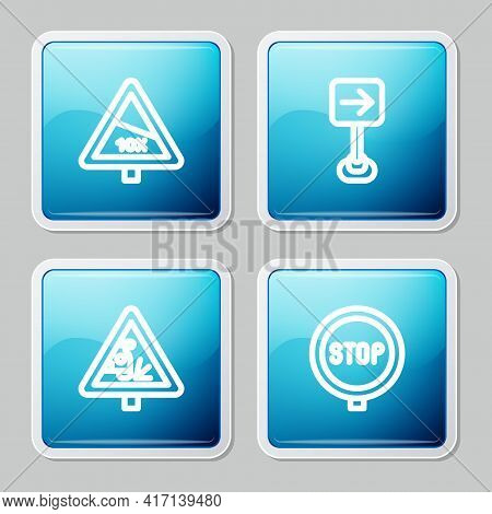 Set Line Steep Ascent And Descent Road, Traffic Sign Turn Right, Warning And Stop Icon. Vector