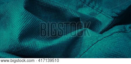 Pleated Blue Cotton Material. Texture Or Background