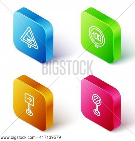 Set Isometric Line Steep Ascent And Descent Road, Speed Limit Traffic, Traffic Sign Turn Right And S