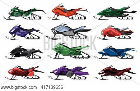 Collecetion Of Isolated Cartoon Snowmobiles. Equipment For Winter Ride. Motor Sleds, Vehicles For Ex