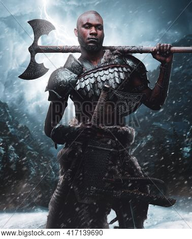 Violent African Viking With Axes In Background Of Blizzard Mountains