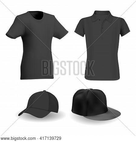 Black Tshirt, Black Baseball Hat Vector Template Mockup. Sport Apparel Realistic Blank, Active Short