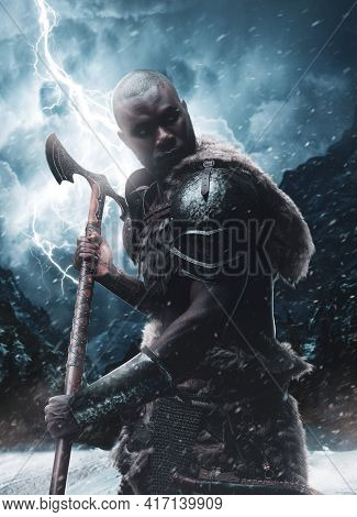 Digital Art Of A Scandinavian Black Skinned Warrior With Axe In Blizzard