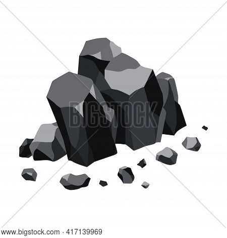 Coal Black Mineral Resources. Pieces Of Fossil Stone. Polygonal Shapes. Black Rock Stones Of Graphit