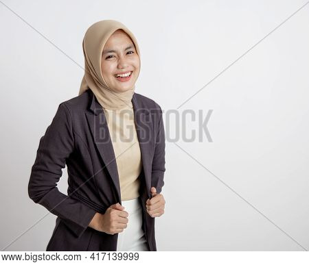 Young Business Woman Cheerful Ready To Work, Hand Holding Suits Office Work Concept