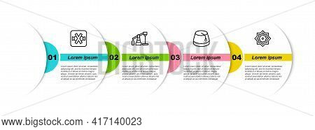 Set Line No Sweets, Oil Pump Or Pump Jack, Turkish Hat And Octagonal Star. Business Infographic Temp